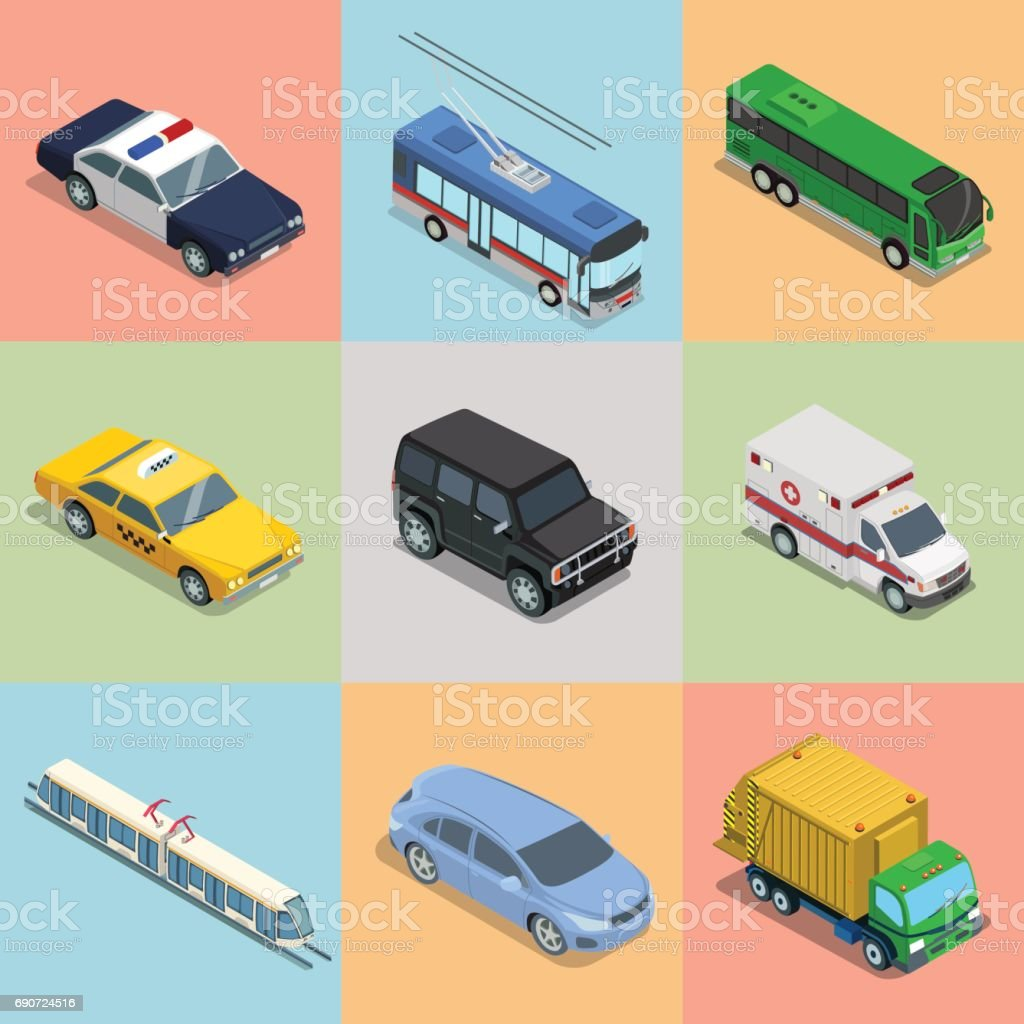 Isometric flat vehicle, railway transport vector illustration set. 3d Isometry City service and specialized transportation collection. vector art illustration