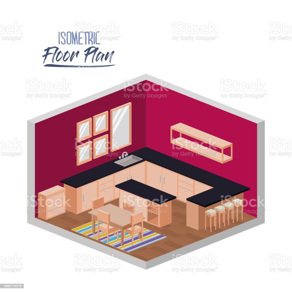 Isométrique Plan Détage Cuisine Avec Grand Plan De Travail Et Salle