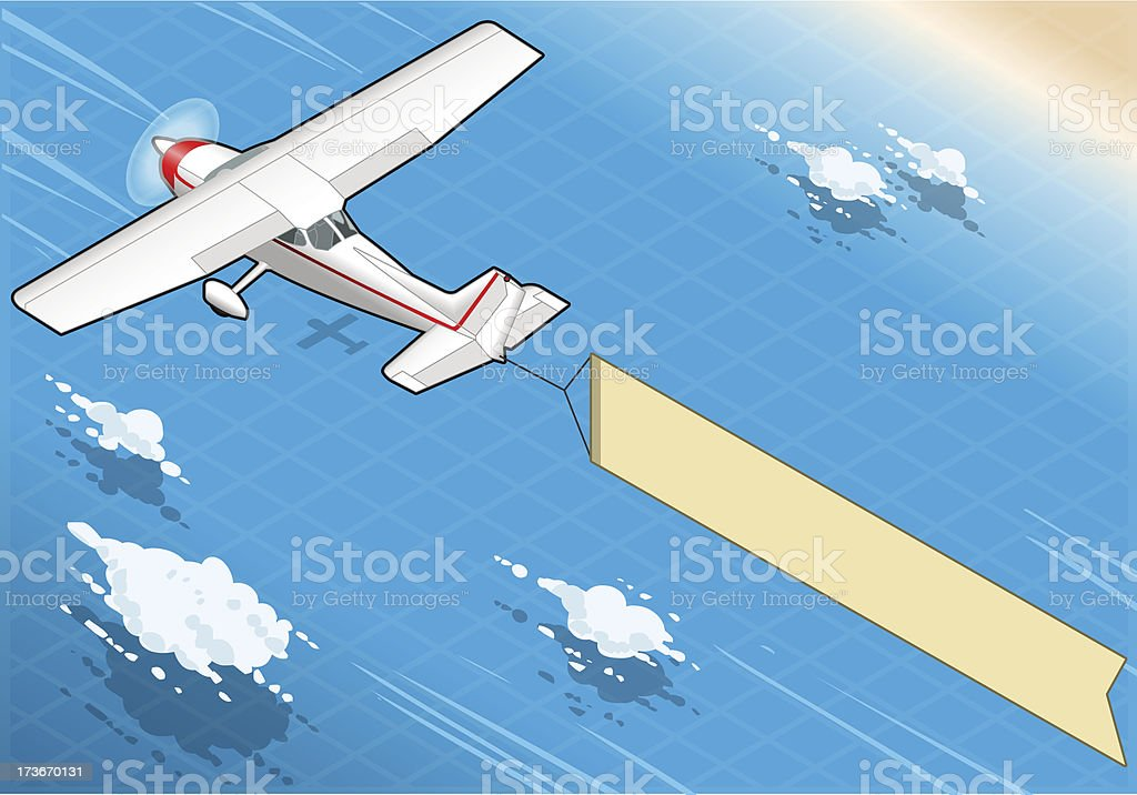 Isometric Flying Plane  with Aerial Banner in Rear View royalty-free stock vector art