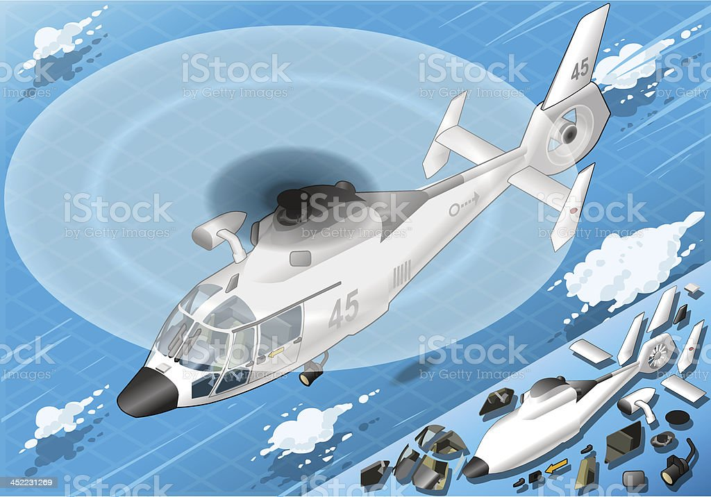 Isometric Flying White Helicopter in Front View royalty-free stock vector art