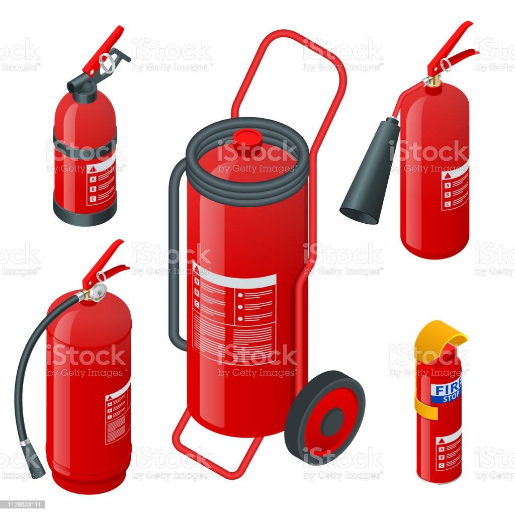 Isometric foam extinguishers, fire extinguishers isolated on white...