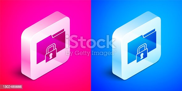 istock Isometric Folder and lock icon isolated on pink and blue background. Closed folder and padlock. Security, safety, protection concept. Silver square button. Vector 1302485666