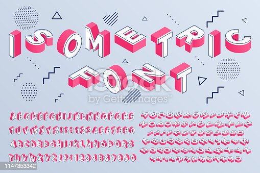 Isometric font. Geometric alphabet 3d letters cubic blocks and perspective numbers. Font futuristic letter, alphabet lettering abc typeface and numbers. Isolated sign vector set