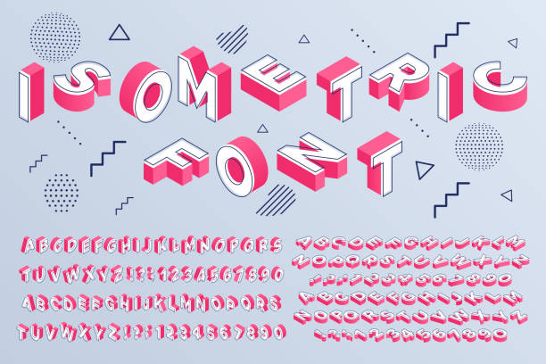 Isometric font. Geometric alphabet 3d letters cubic blocks and perspective numbers sign vector set Isometric font. Geometric alphabet 3d letters cubic blocks and perspective numbers. Font futuristic letter, alphabet lettering abc typeface and numbers. Isolated sign vector set block shape stock illustrations