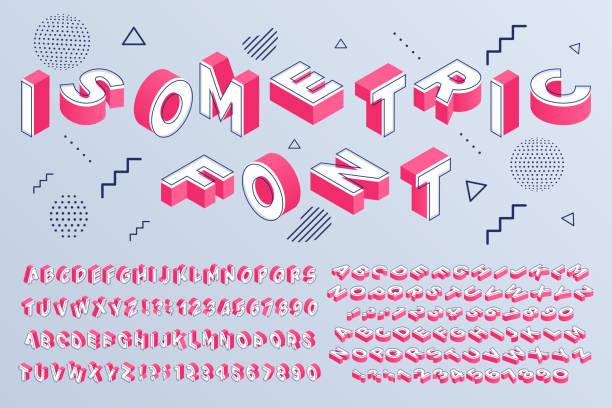 등각 투영 글꼴. 기하학적 알파벳 3d 편지 큐빅 블록과 원근 숫자 기호 벡터 세트 - 숫자 stock illustrations