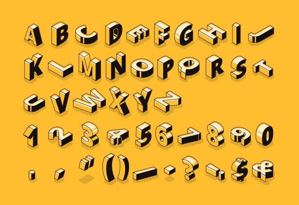 Isometric font letters halftone vector illustration vector art illustration