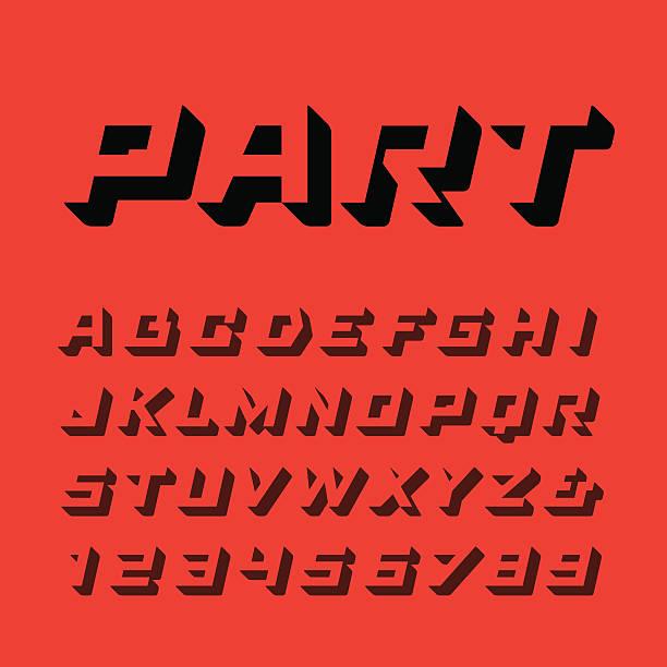 stockillustraties, clipart, cartoons en iconen met isometric font. vector alphabet with 3d effect letters and numbe - gewicht fysieke beschrijving