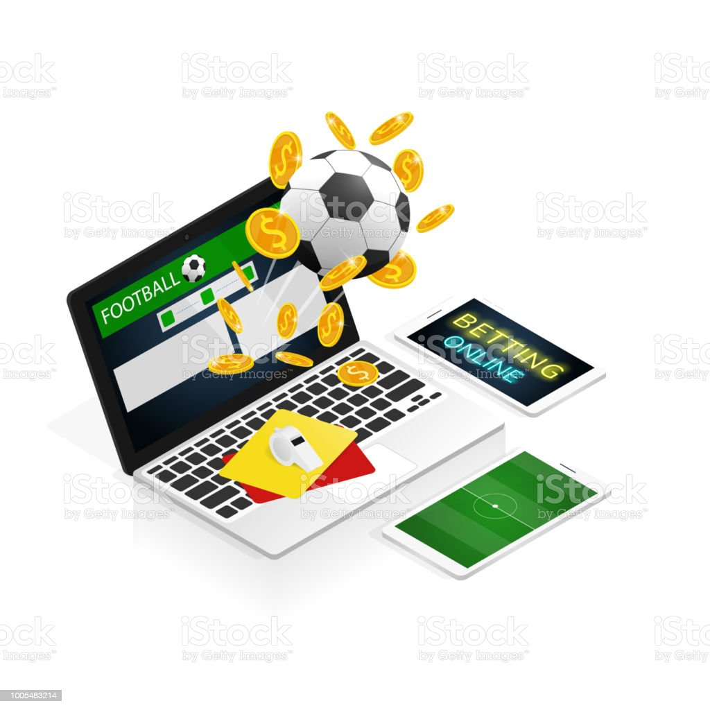 Isometric Football Betting Online Make Money Vector Stock Illustration -  Download Image Now - iStock