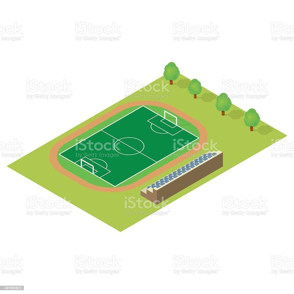 Isometric football field vector art illustration