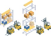 Detailed vector illustration of a forklift (front and back view) and a loaded warehouse storage unit. The file is multi-layered to make it easy to assemble different shelf units.