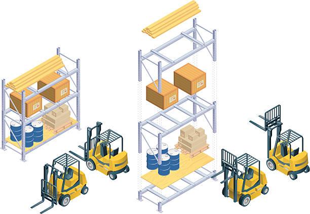 isometric gabelstapler und warehouse rack - kastenständer stock-grafiken, -clipart, -cartoons und -symbole