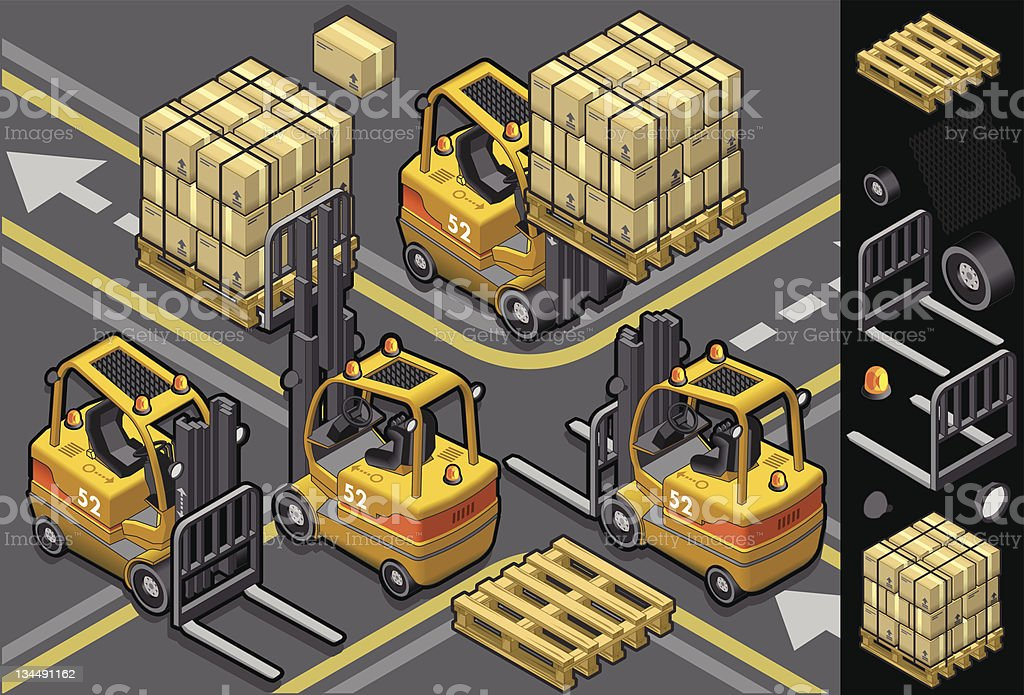 isometric forklift in four different positions royalty-free stock vector art