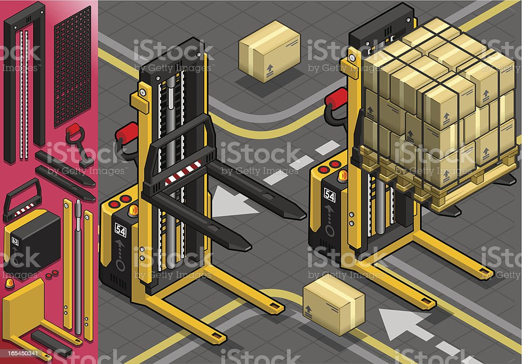 Isometric Forklift in Two Positions royalty-free isometric forklift in two positions stock vector art & more images of bank deposit slip