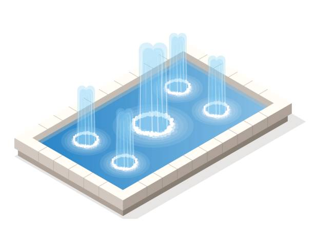 isometric fountain water spout spray in basin isolated on white background. - fontanna stock illustrations
