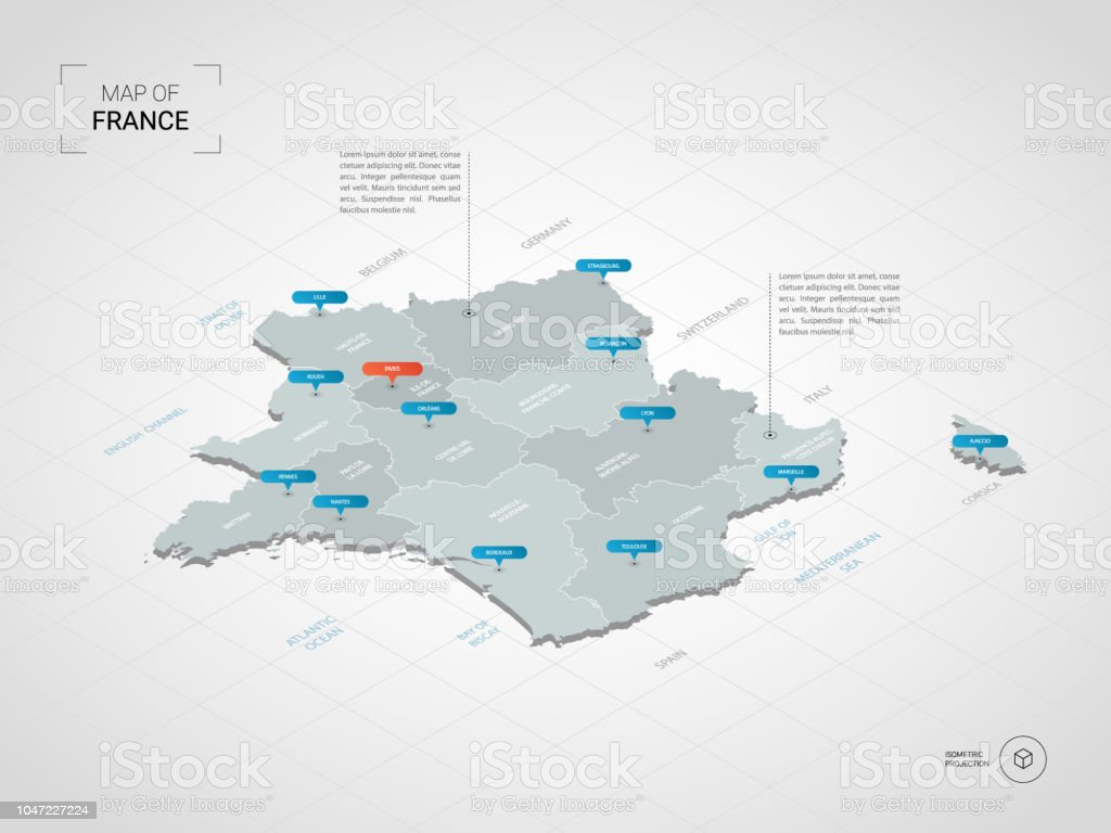 Map Of France With City Names.Isometric France Map With City Names And Administrative Divisions