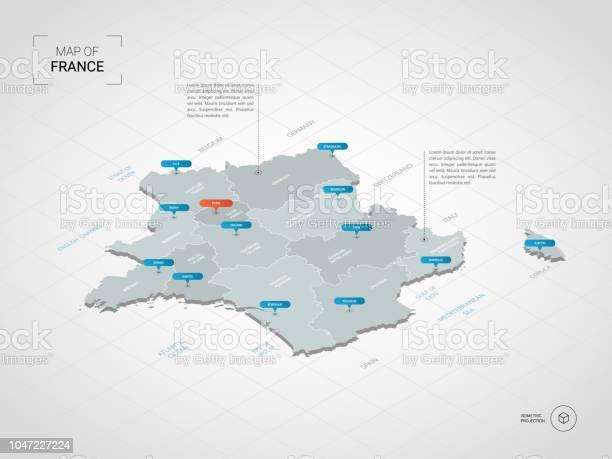 Carte De France Isométrique Avec Noms De Villes Et De Divisions Administratives Vecteurs libres de droits et plus d'images vectorielles de Affiche