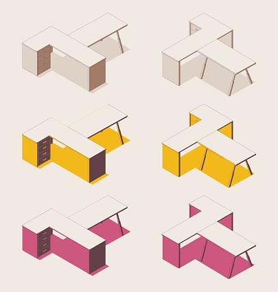 Isometric fullcolor outline set of office desks in various foreshortening views