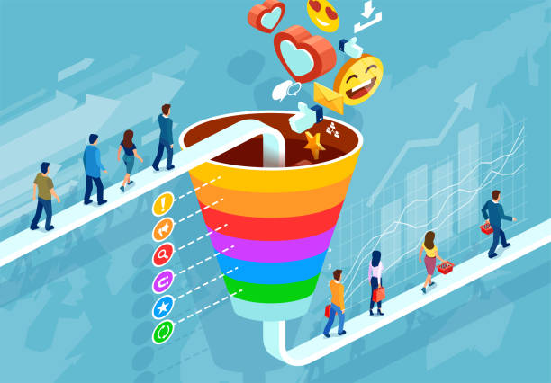 isometric funnel infographic of a customer retention strategy - sprzedawać stock illustrations
