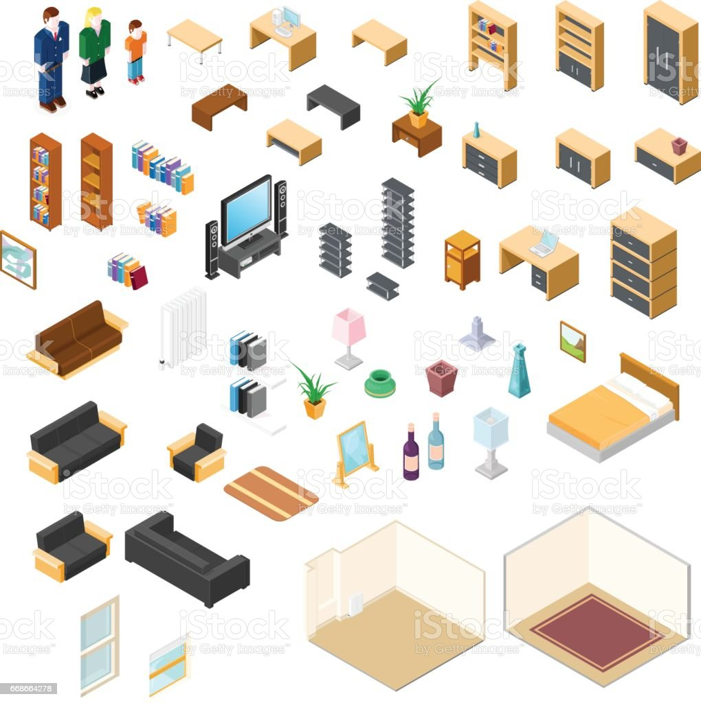 isometric furniture elements icon set stock vector art