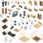 Large set of room interior objects and furniture isometric design elements.