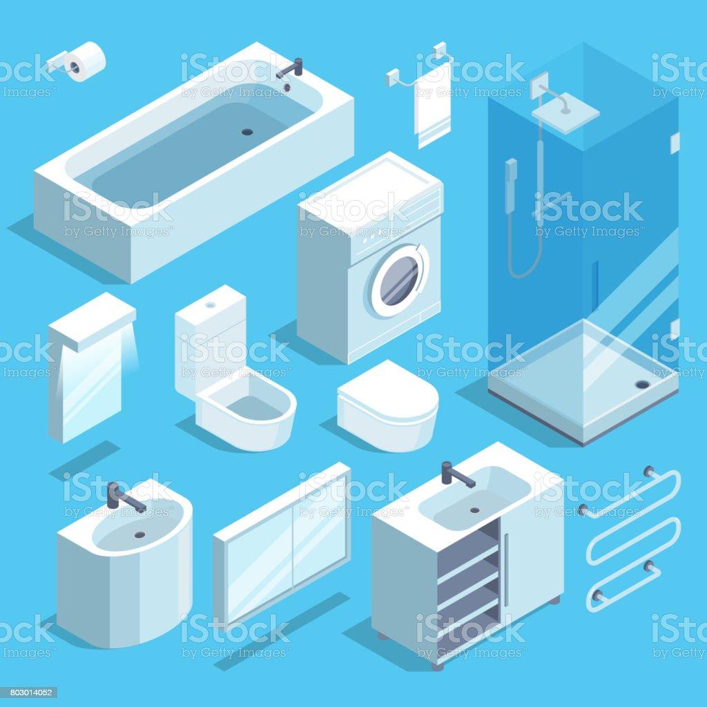 Isometrische Möbelelemente set Badezimmer Interieur. Vektor-Illustrationen – Vektorgrafik
