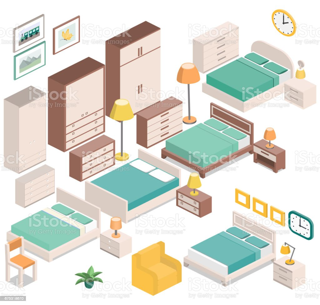 Isometric furniture for bedroom. Vector graphic. vector art illustration
