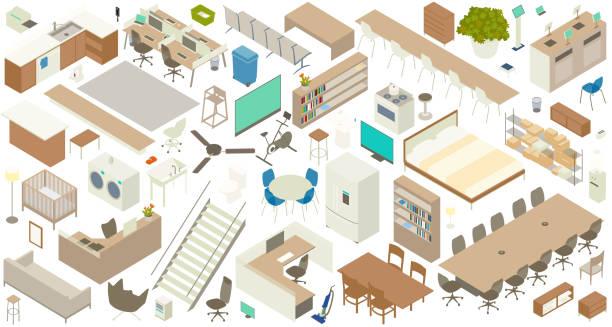 Isometric furniture icon set vector art illustration
