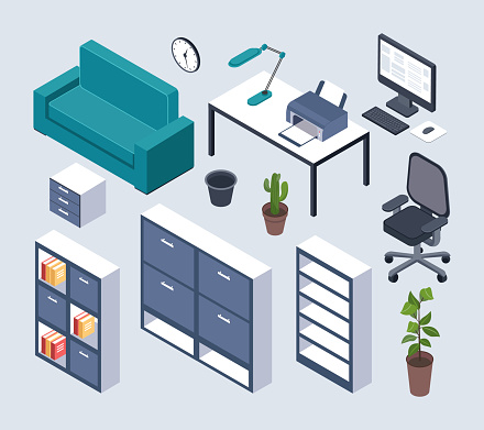 Isometric furniture. Office desk with monitor, computer mouse and lamp, printer and clock, armchair. Couch, plant in pot 3d interior vector set