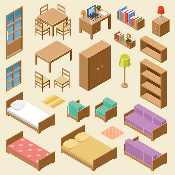 Isometric furniture set Vector set of isometric furniture on the beige background bed furniture stock illustrations