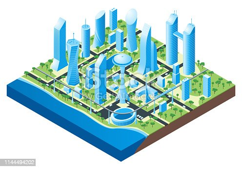 Isometric futuristic cityscape. Vector illustration of city with buildings, cars and trees