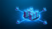 istock Isometric futuristic Hosting server. Abstract datacenter or blockchain background. 3D Digital background. Server farm communication with internet. Computer storage, farming workstation. Vector 1255100576