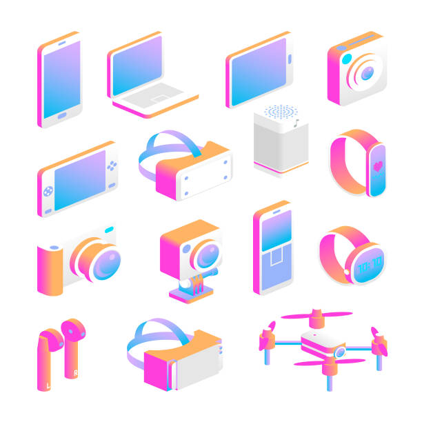 isometric gadget icon set vector art illustration