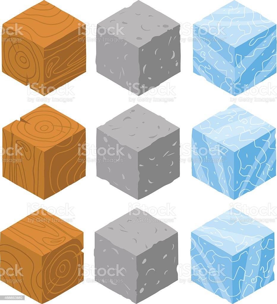 Isometric game brick cubes set. vector art illustration