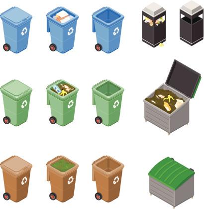 Isometric Garbage Bins and Trash