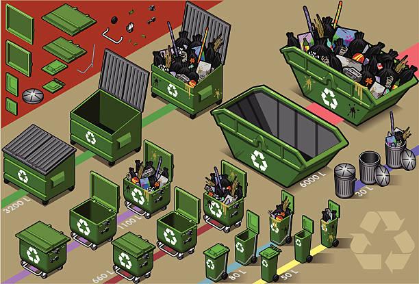 stockillustraties, clipart, cartoons en iconen met isometric garbage container in varius sizes - container