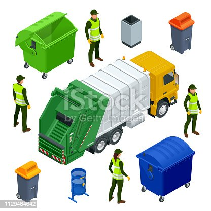 Isometric Garbage Truck or Recycle Truck in City. Garbage Recycling and Utilization Equipment. City waste recycling concept with garbage truck. Vector illustration.