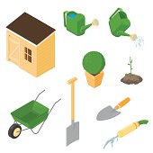 A vector illustration of various gardening icons.