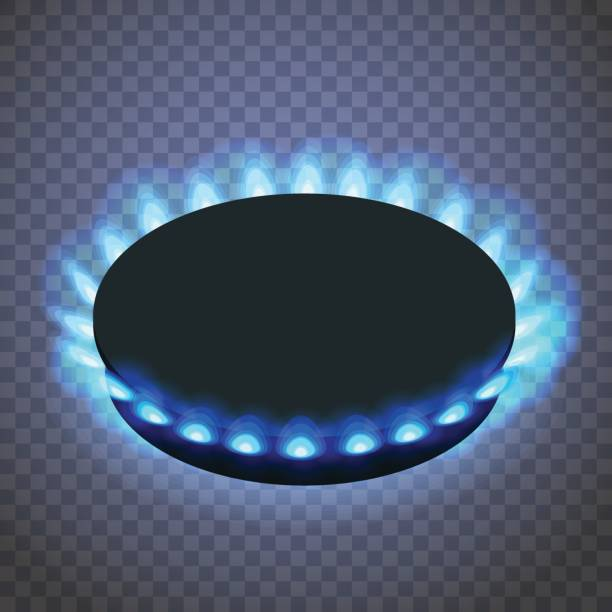 Isometric gas burner or hob on a transparent background. Isometric gas burner or hob on a transparent background. Vector Blue flame stove stock illustrations