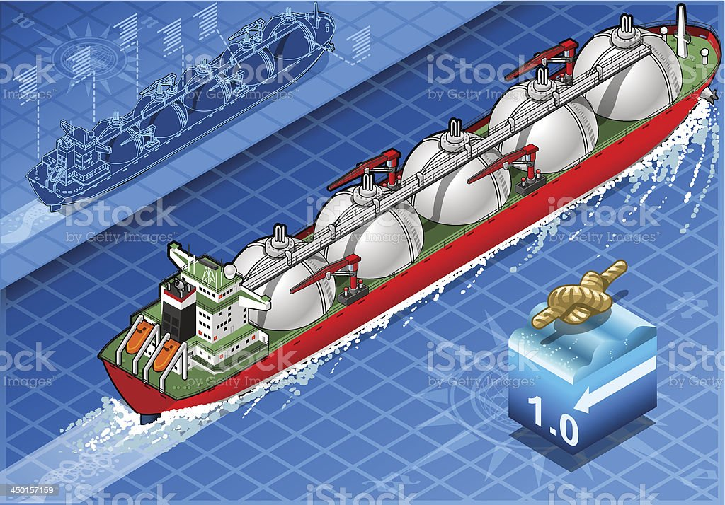 Isometric Gas Tanker Ship in Navigation royalty-free isometric gas tanker ship in navigation stock vector art & more images of anchor - vessel part