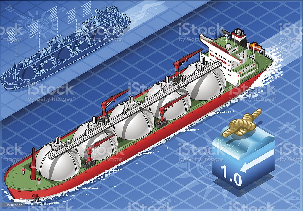 Isometric Gas Tanker Ship in Navigation royalty-free stock vector art