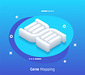 Gene mapping isometric design concept with modern flat style gradients. Vector design elements useful for web banner or poster.