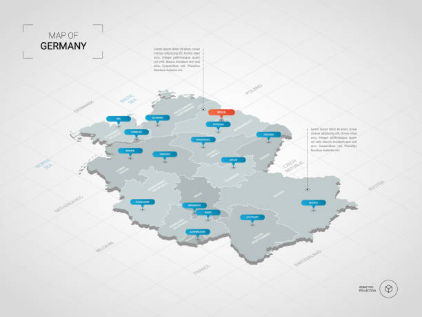 Isometric Germany map with city names and administrative divisions. Isometric  3D Germany map. Stylized vector map illustration with cities, borders, capital, administrative divisions and pointer marks; gradient background with grid. germany stock illustrations