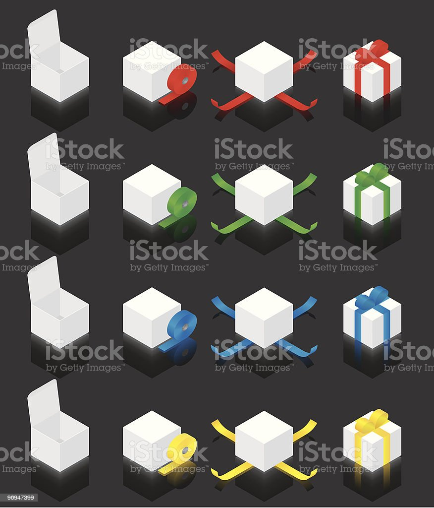 Isometric gift box  - black background royalty-free isometric gift box black background stock vector art & more images of birthday