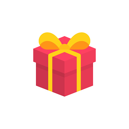 Isometric Gift Flat Icon. Pixel Perfect. For Mobile and Web.