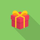 Isometric Gift Flat Icon.