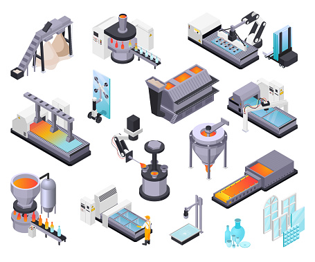 Glass production isometric set with isolated icons of raw materials windows glassware and industrial production units vector illustration