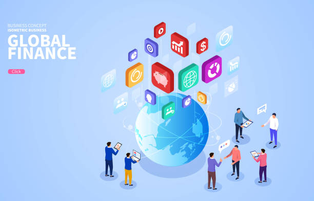 Isometric global business connection development and information transmission Isometric global business connection development and information transmission z_wei stock illustrations