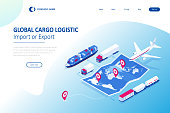 istock Isometric Global logistics network concept. Freight shipping. Satellite tracks the movement of freight transport. Maritime, air shipping transport logistic, warehouse storage concept, export or import 1301413488