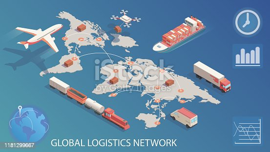 Isometric global logistics network. Concept of air cargo trucking rail, transportation maritime shipping, delivery by DRON, on-time delivery vehicles.