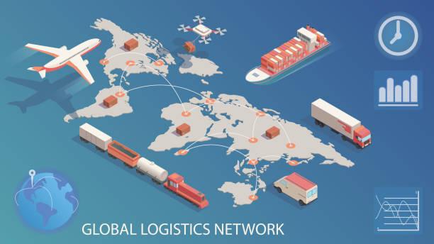 ilustraciones, imágenes clip art, dibujos animados e iconos de stock de red logística global isométrica. concepto de ferrocarril de transporte de carga aérea, transporte marítimo, entrega por dron, vehículos de entrega a tiempo. - global
